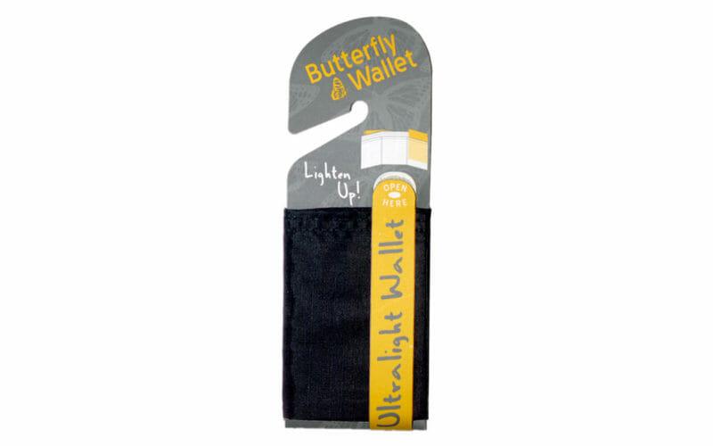 butterfly wallet black nylon minimalist vegan hangtag
