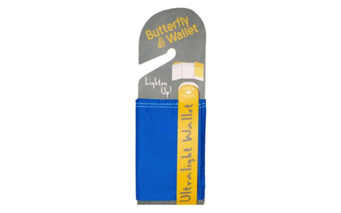 butterfly wallet blue nylon minimalist vegan hangtag