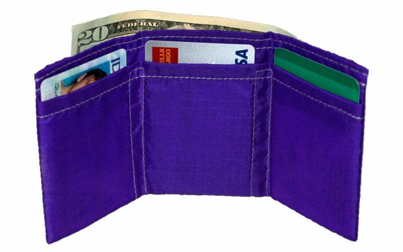 butterfly wallet violet nylon minimalist vegan